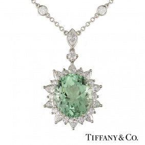 Tiffany & Co. Tourmaline & Diamond Pendant in Platinum